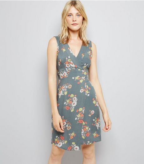 Apricot Olive Green Floral Tie Back Dress | New Look