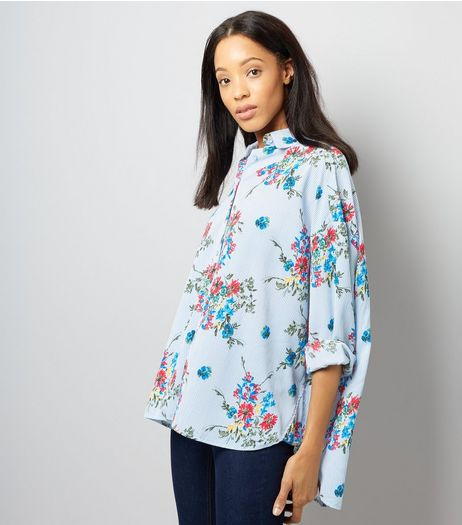 Cameo Rose Blue Stripe Floral Print Oversized Shirt | New Look