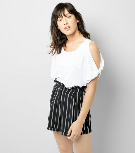 Cameo Rose Black Stripe Paper Bag Shorts | New Look