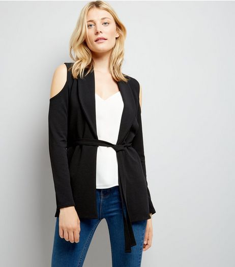 Cameo Rose Black Cold Shoulder Jacket | New Look