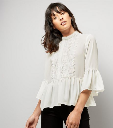 Cameo Rose Cream Crochet Trim Blouse | New Look