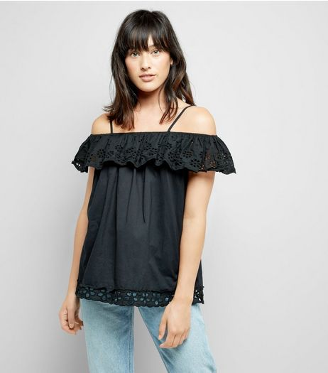 Cameo Rose Black Cut Out Embroidered Top | New Look