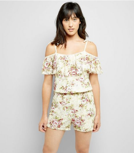 Cameo Rose Cream Floral Lace Playsuit | New Look