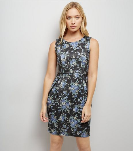 Blue Vanilla Black Floral Print Cut Out Back Dress | New Look