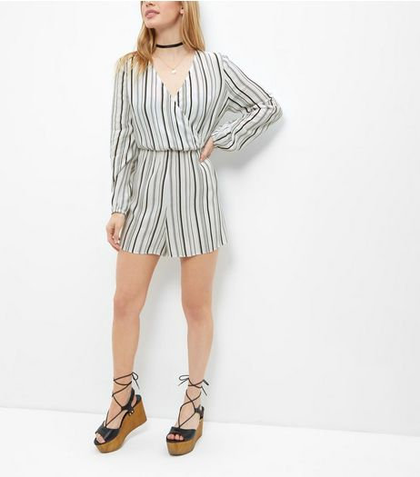 Petite White Stripe Wrap Playsuit  | New Look