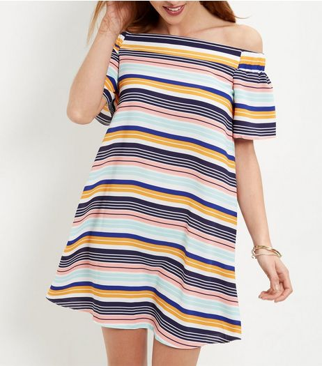 White Stripe Bardot Neck Dress | New Look